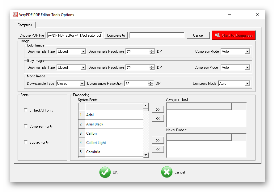 Сжатие в VeryPDF PDF Editor