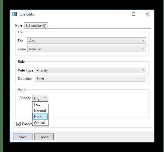 Указание приоритета использования сети для всех процессов на ПК в программе NetLimiter
