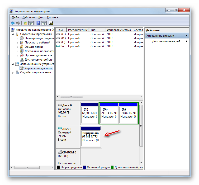 Виртуальный диск снова доступен в разделе Управление дисками в окне Управление компьютером в Windows 7