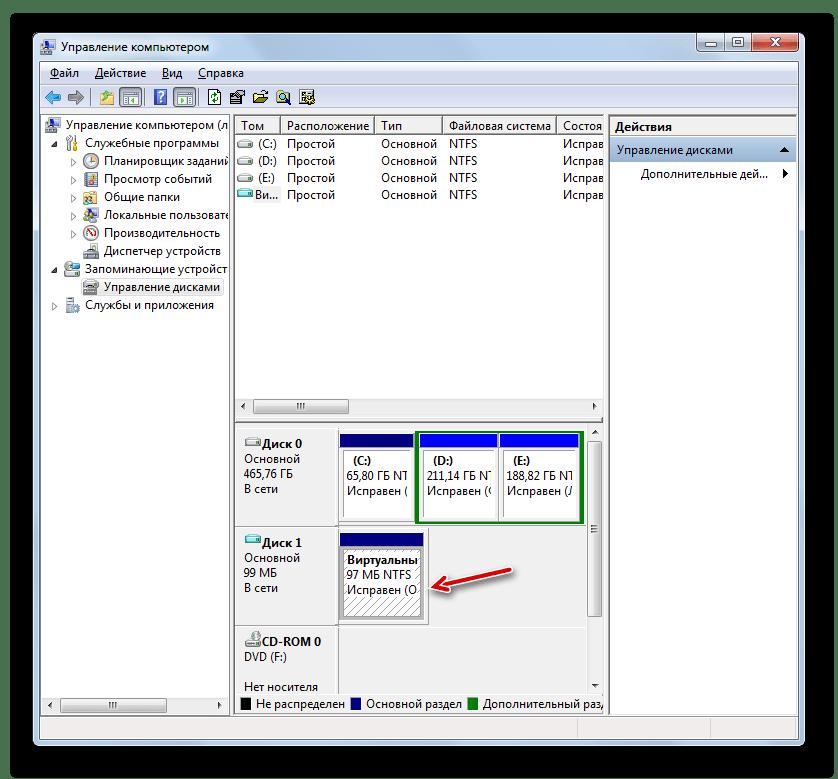 Виртуальный диск создан в разделе Управление дисками в окне Управление компьютером в Windows 7