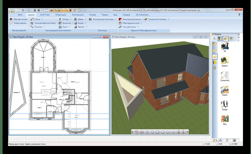 Внесение изменений и их отображение в реальном времени в Ashampoo 3D CAD Architecture