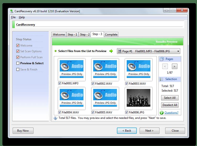 Восстановление обнаруженных файлов в CardRecovery