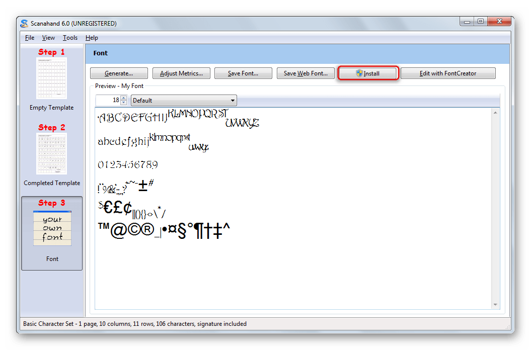 Возможность добавления готового шрифта в систему в Scanahand