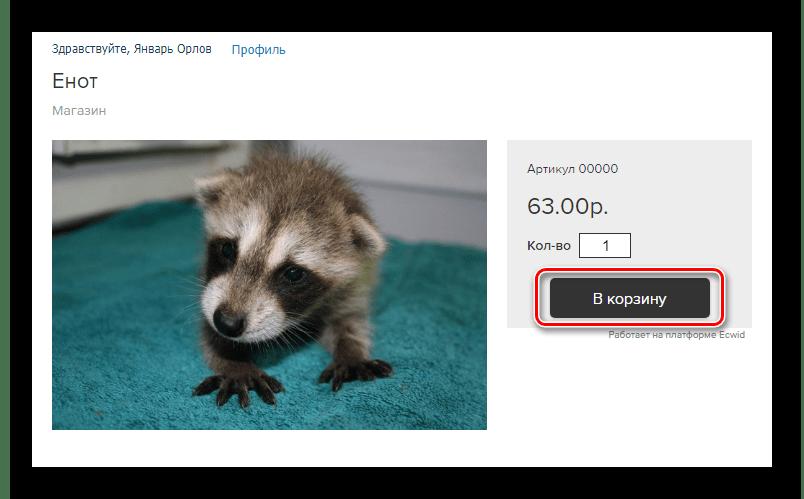 Возможность оформления заказа на товар в магазине Ecwid на сайте ВКонтакте