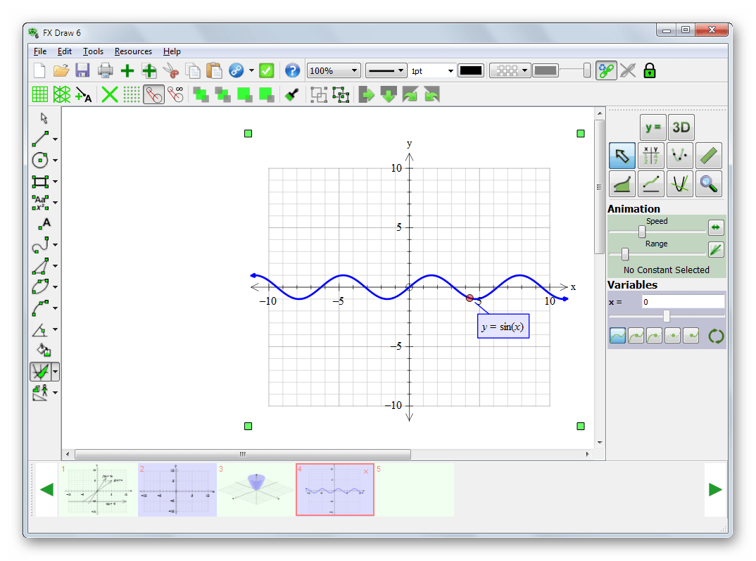 Возможность построения графиков тригонометрических функций в Efofex FX Draw