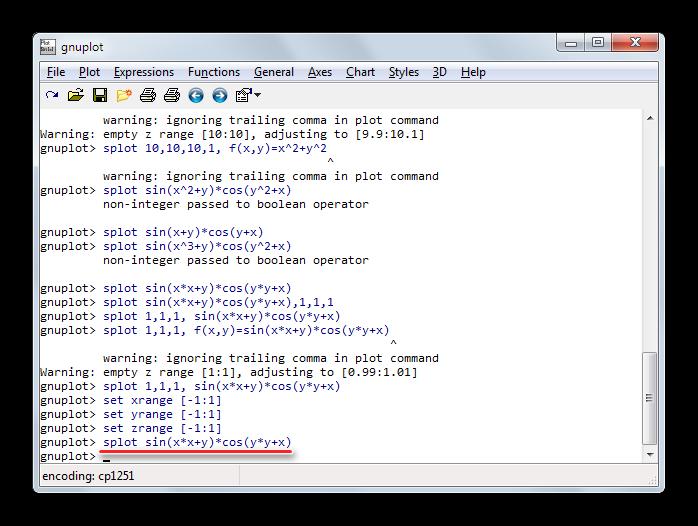 Ввод математической функции через командную строку для построения объемного графика в Gnuplot