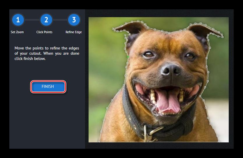 Выделение объекта на изображении в сервисе piZap