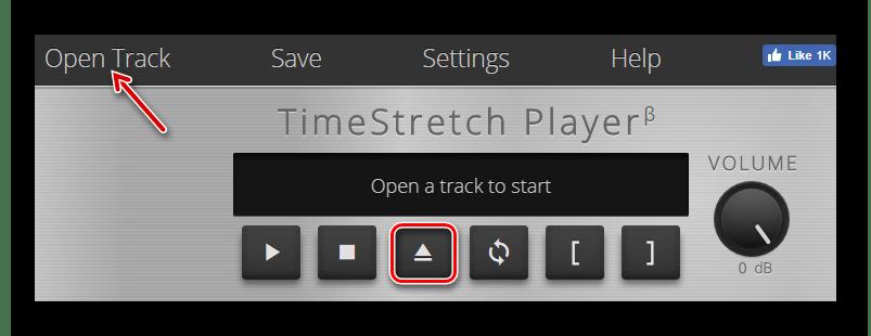 Загружаем аудиофайл в TimeStretch Audio Player