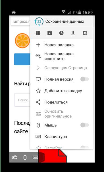 Загруженная страница и меню Puffin Browser