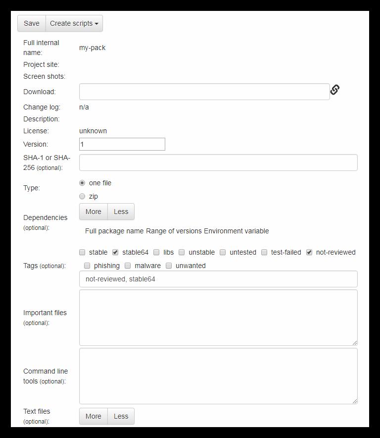 Заполнение формы с описанием пакета приложений на официальном сайте программы Npackd
