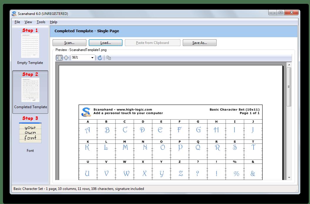 Заполненный вариант таблицы для создания шрифтов в Scanahand