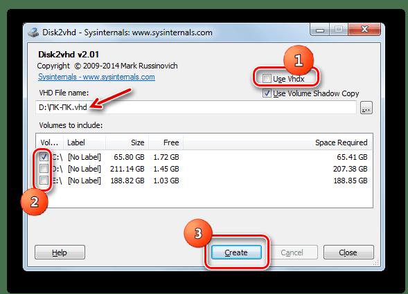 Запуск создания виртуального жесткого диска в формате VHD в программе Disk2vhd