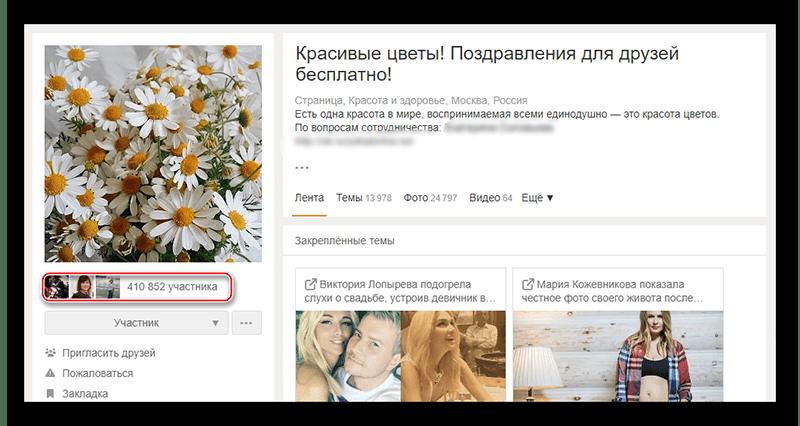 Инфо о группе в Одноклассниках