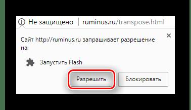 Кнопка разрешения использования плагина Adobe Flash Player для сайта RuMinus
