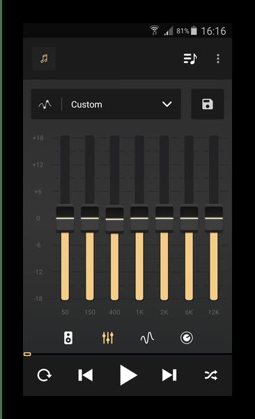 Большой выбор частот для нормализации звука в Equalizer Music Player Booster
