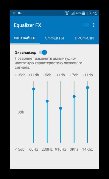 Частотный эквалайзер приложения Equalizer FX