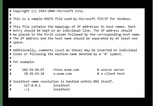 Чистый файл hosts в блокноте в системном разделе проводника ОС Виндовс