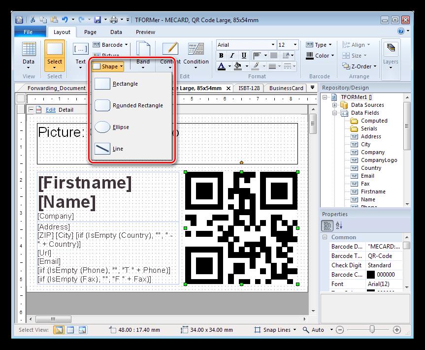 Добавление фигур в проект в программе TFORMer Designer