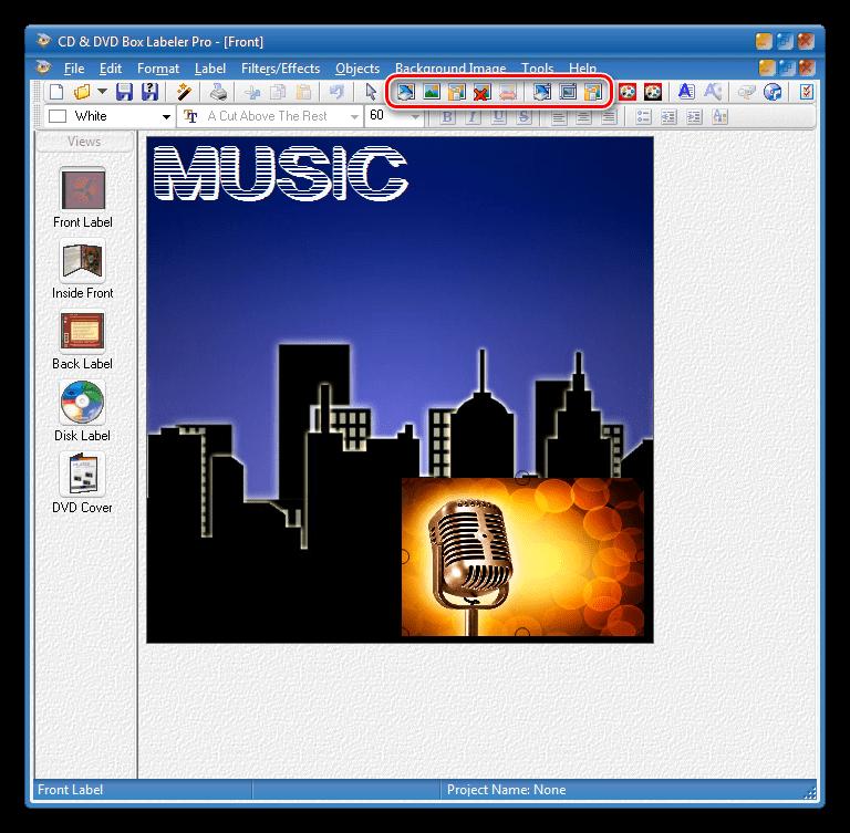 Добавление изображений в проект в программе CD Box Labeler Pro