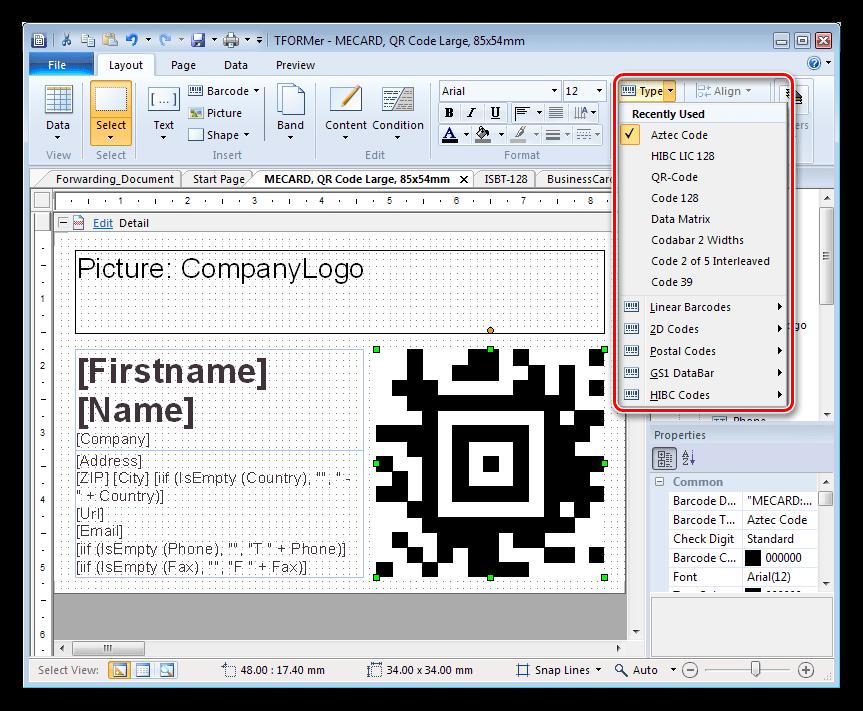 Добавление штрих-кода в программе TFORMer Designer