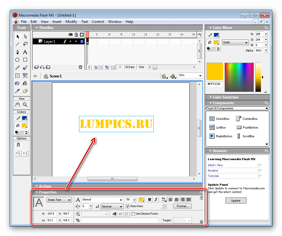 Добавление текста Macromedia Flash MX