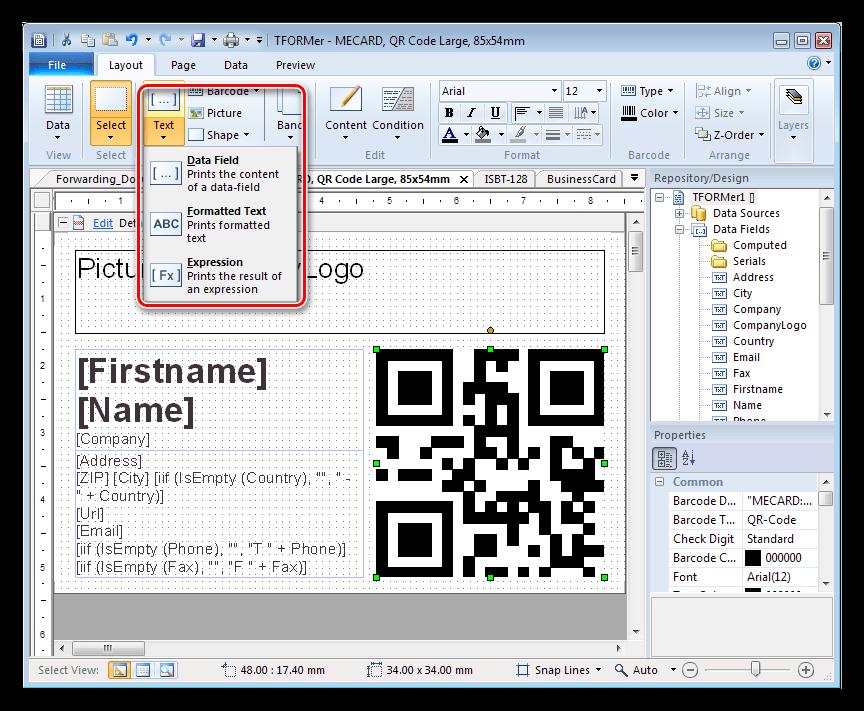 Добавление текстового контента в программе TFORMer Designer
