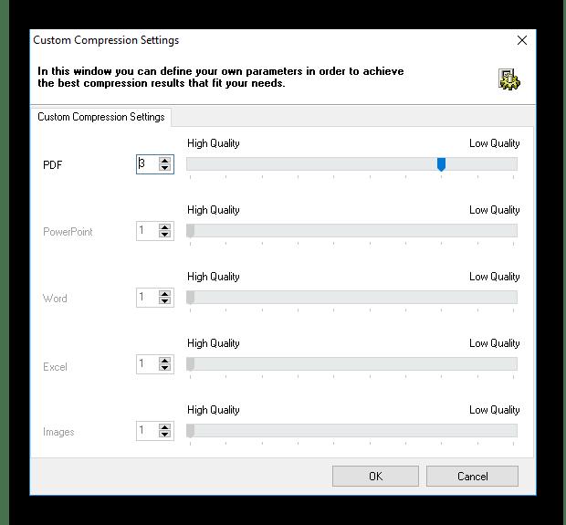 Дополнительные настройки сжатия ПДФ-файлов в программе FILEminimizer PDF