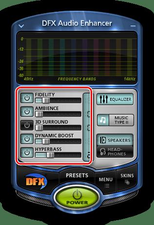 Главная панель настроек в программе DFX Audio Enhancer