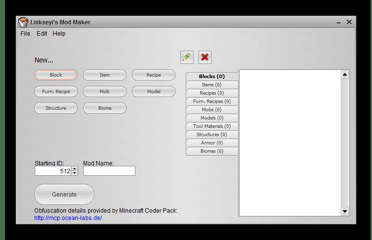 Главное окно Linkseyi`s Mod Maker