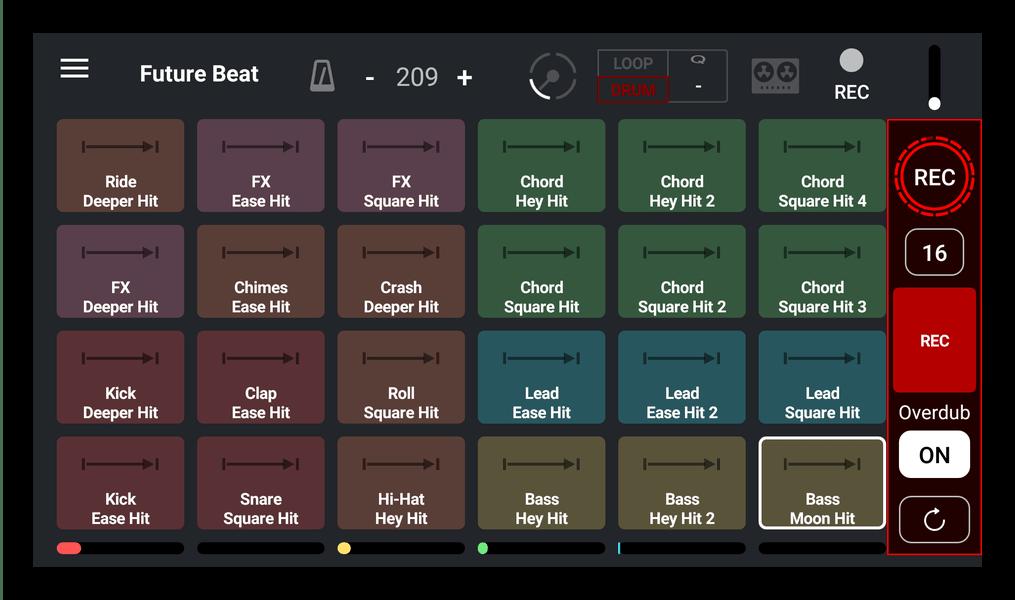 Главное окно микширования в Remixlive - drum & play loops
