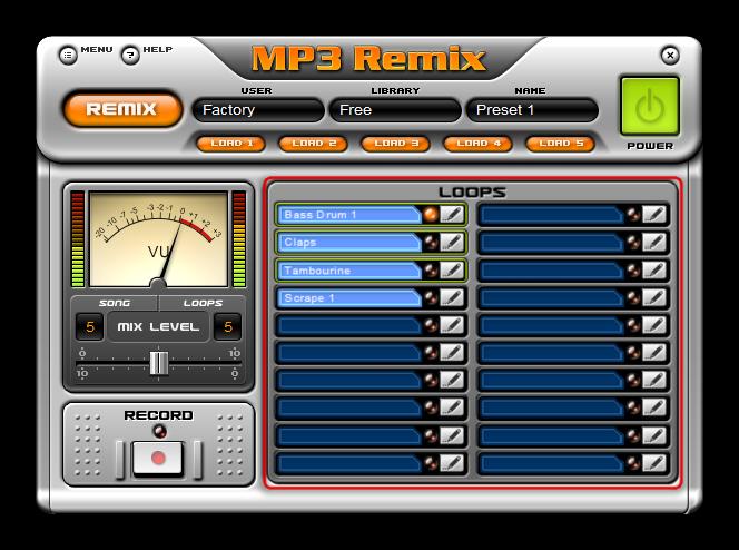 Главное окно плагина с накладываемыми на музыкальную композицию эффектами в MP3 Remix
