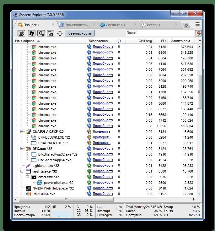 Главное окно программы System Explorer