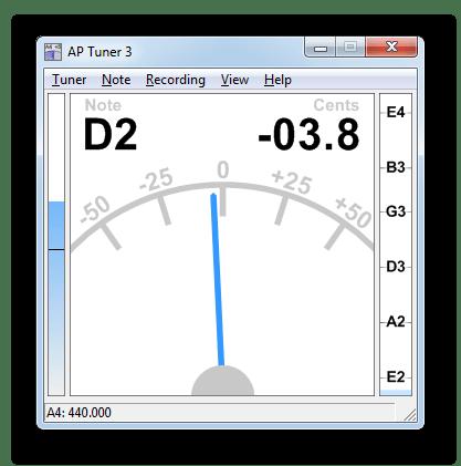 Главное окно программы, в котором производится настройка гитары при помощи микрофона в AP Guitar Tuner