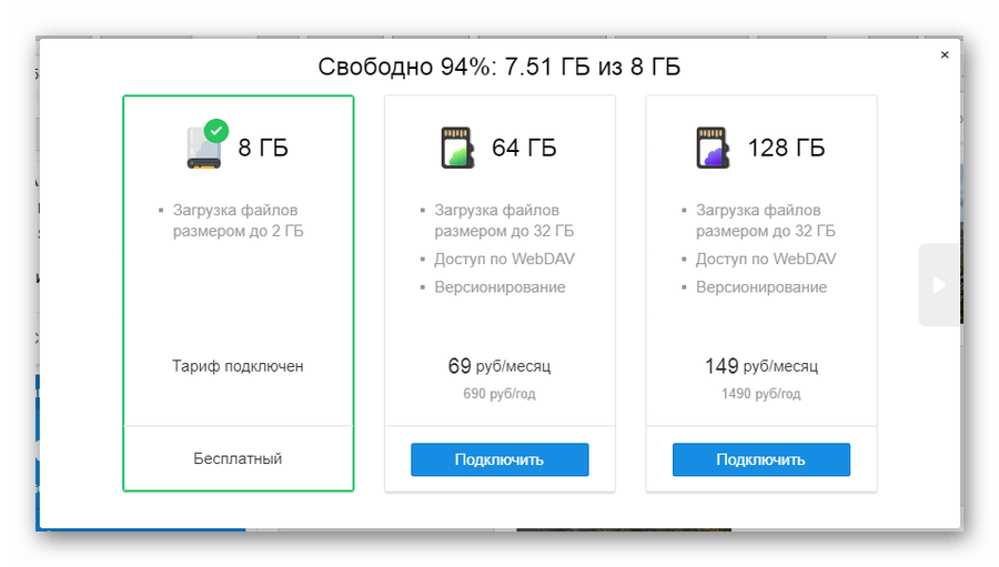 Информация о существующих тарифах на сайте сервиса Облако Mail.ru