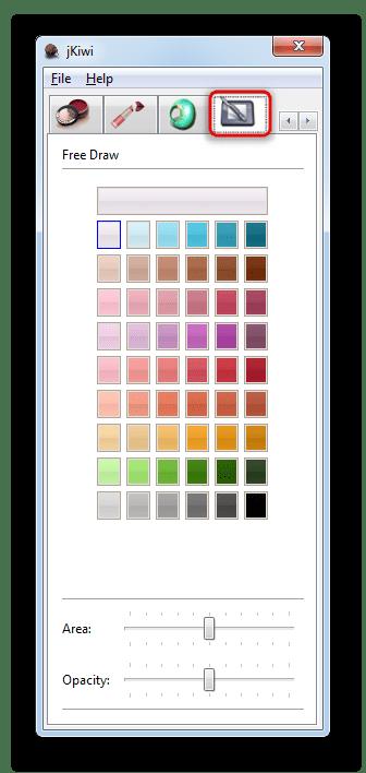 Инструмент для свободного рисования на фотографии в jKiwi