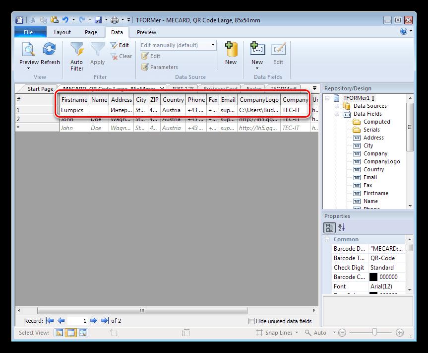 Использование переменных в программе TFORMer Designer