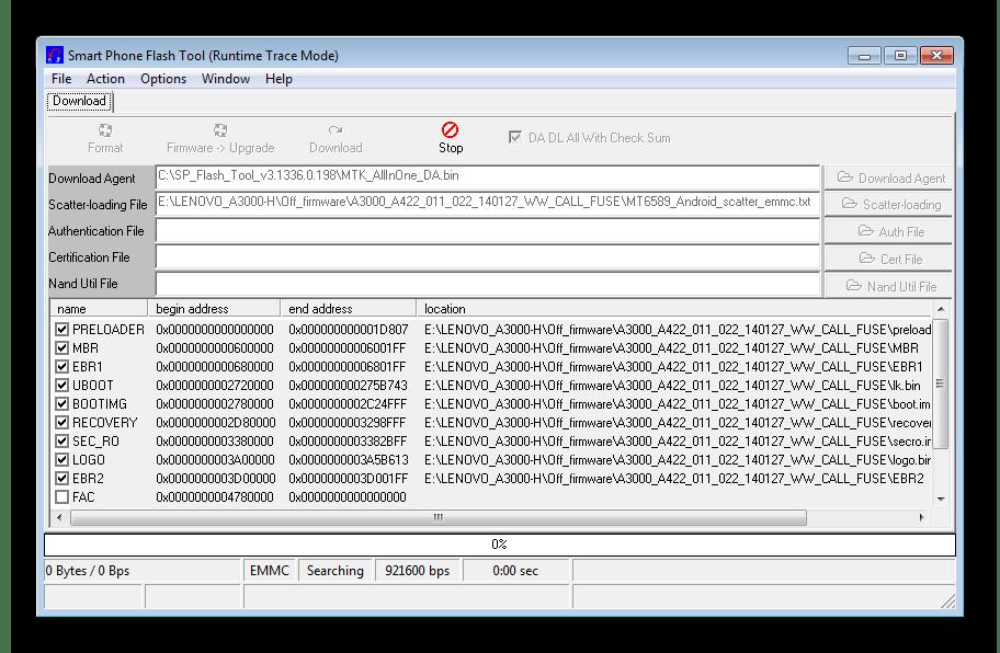 Lenovo IdeaTab A3000-H Flash Tool ожидание включения  устройства