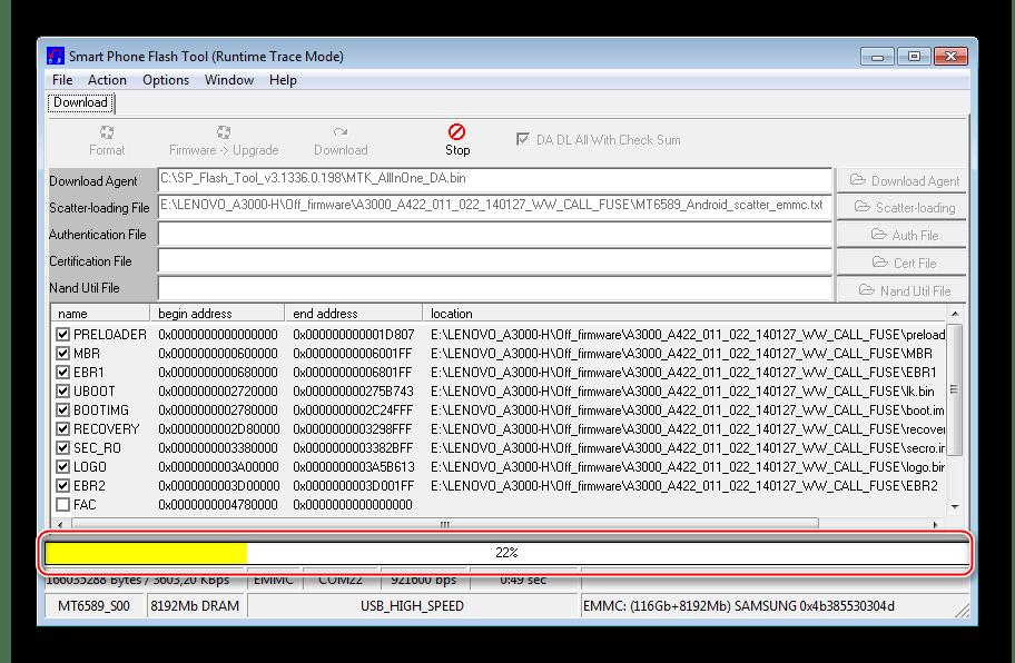 Lenovo IdeaTab A3000-H процесс прошивки через Flashtool