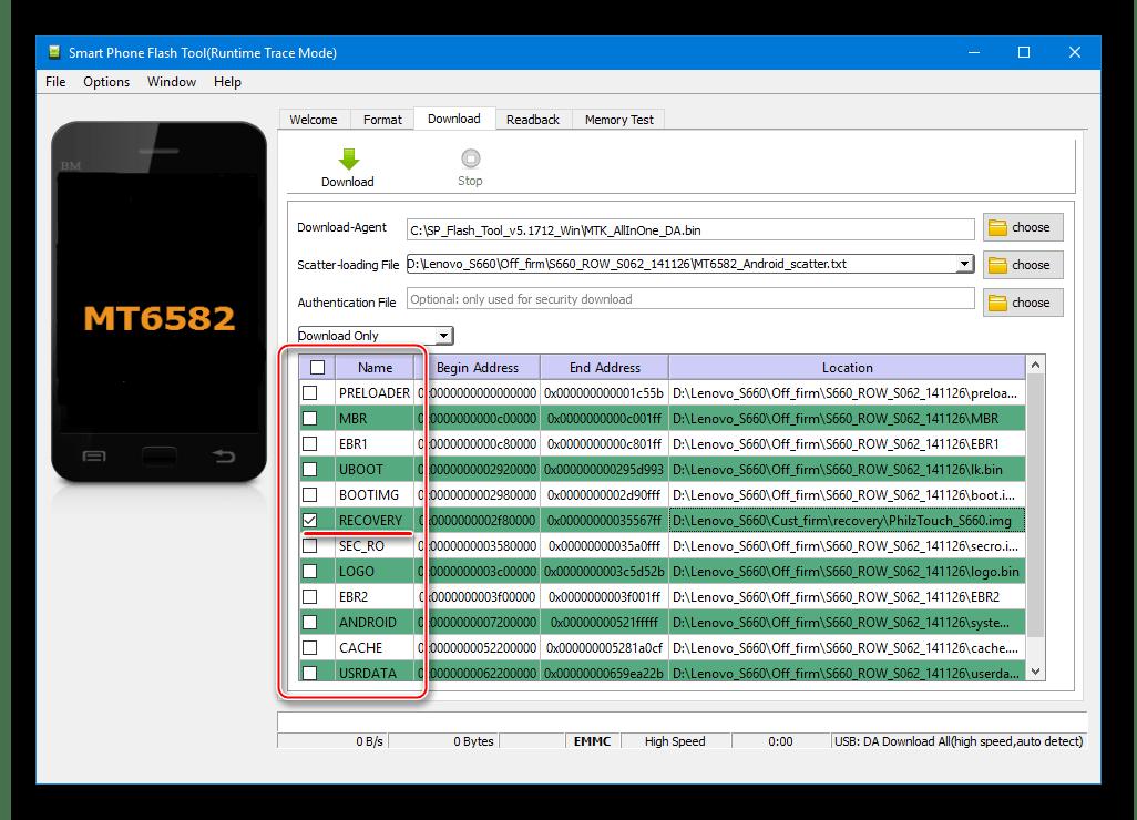 Lenovo S660 установка рекавери через SP Flash Tool