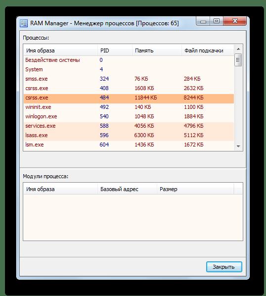 Менеджер процессов в программе RAM Manager