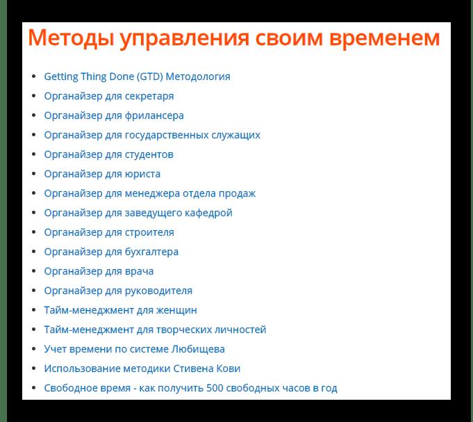 Методы управления своим временем на официальном сайте программы LeaderTask