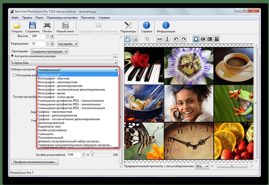 Наборы настроек алгоритмов изменения размеров изображений в Benvista PhotoZoom Pro