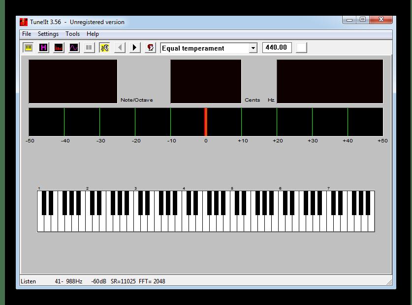 Настройка гитары на слух при помощи воспроизведения звуков, соответствующих определенным нотам в Tune It!