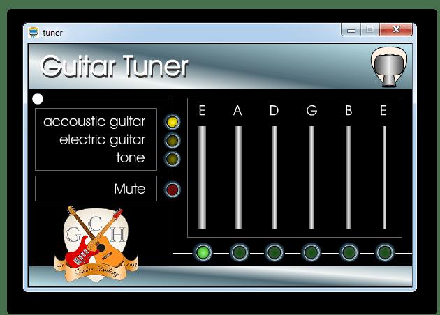 Настройка гитары на слух путем воспроизведения записанных звуков нот стандартного строя, и приведения в соответствие с воспроизводимыми инструментом в Easy Guitar Tuner