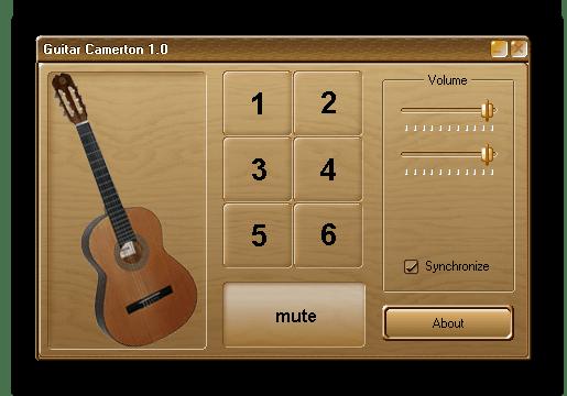 Настройка гитары при помощи воспроизведения записанных звуков, соответствующих нотам в Guitar Camerton