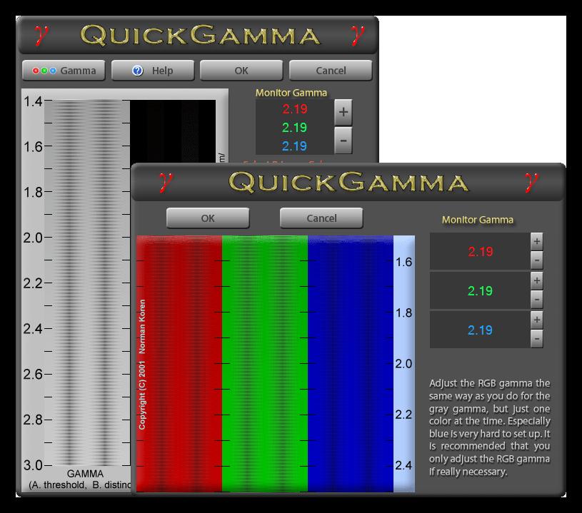 Настройка параметров гаммы в программе QuickGamma