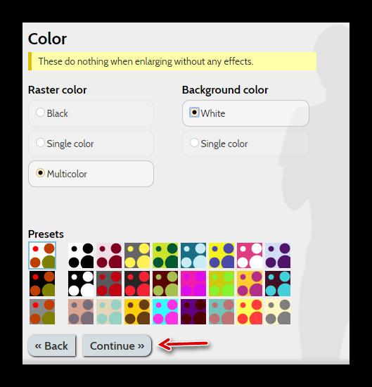 Настройки цветовой гаммы эффектов вThe Rasterbator