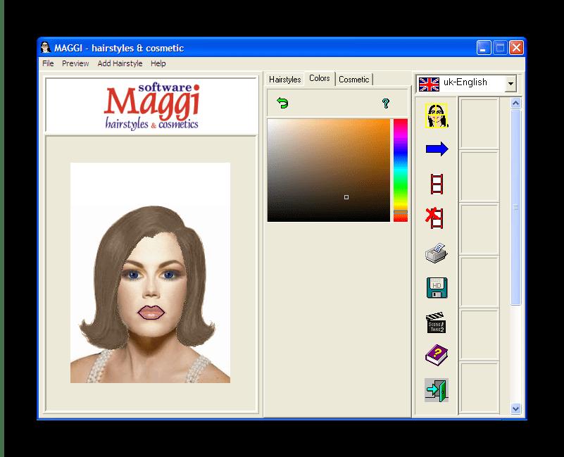 Окно подбора цвета волос в Maggi
