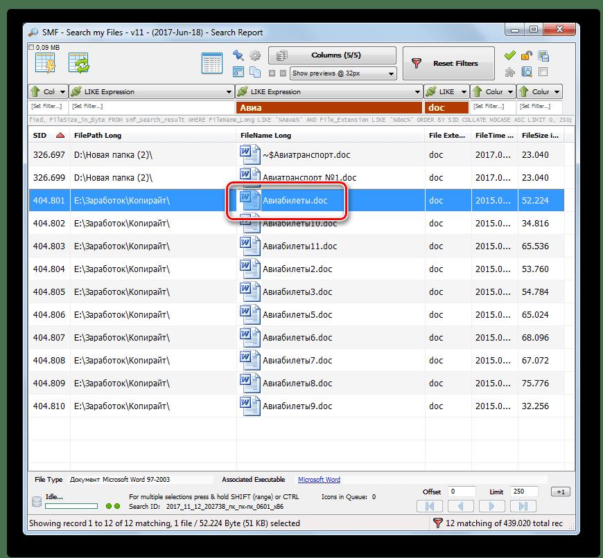 Открытие искомого файла в программе Search My Files в Windows 7