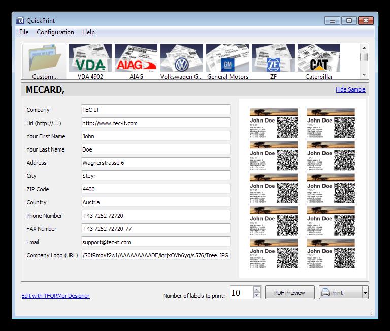 Печать документов с помощью утилиты TFORMer QuickPrint